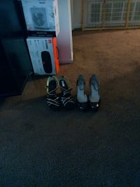 two pairs of black leather heeled shoes