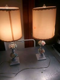 two brown-and-white table lamps 32 mi