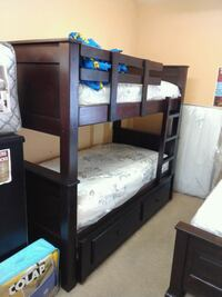 black wooden bunk bed with mattresses Long Beach, 90805