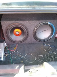 two gray Dual subwoofers with enclosure Sugar Creek, 64054
