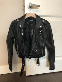 Black leather zip-up jacket xs