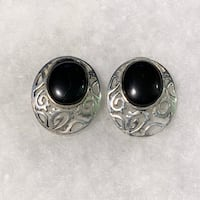 Vintage Sterling Silver & Black Onyx Earrings Chantilly, 20151
