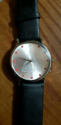round silver-colored analog watch with black leather strap St. Catharines, L2M 4G1