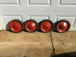 4 VINTAGE HARD RUBBER TIRES SOAP BOX WAGON ECT