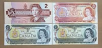 Lot of 4-1970s- 1980s Vintage Canadian Bills -Crisps! Calgary, T2R 0S8