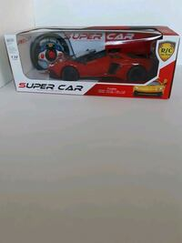 Red  car with remote control
