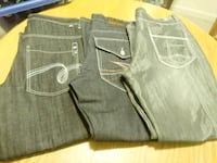 two gray and black denim bottoms 41 km