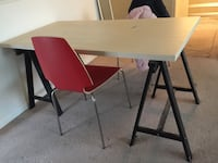 Dining table with 2 Stainless steel framed red dining chair