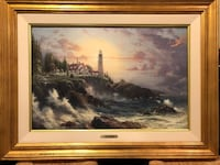 brown wooden framed painting of river New York, 10154