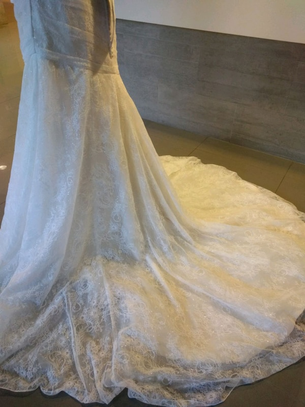 Ivory gold lacy wedding gown size 14 70f62be9-eb5f-4c27-8a34-fb47197f990b