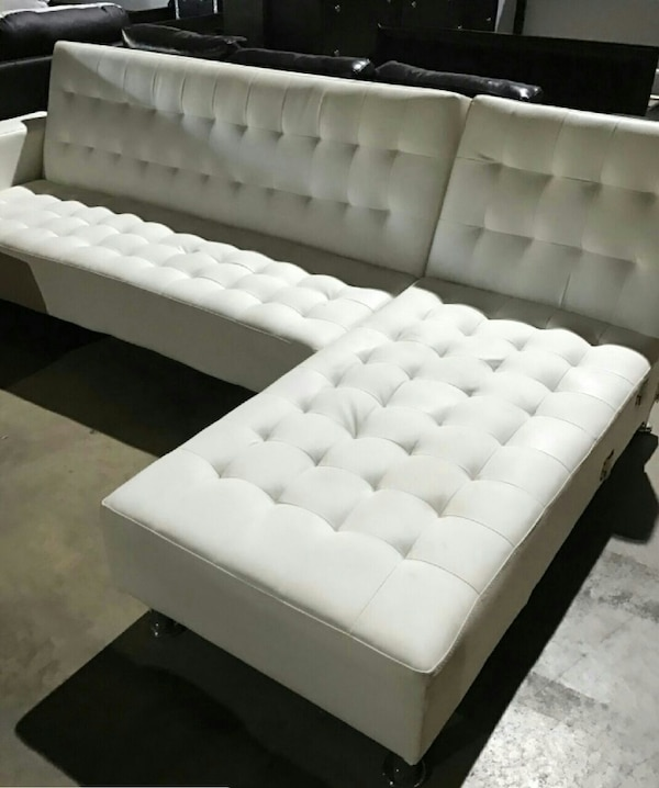 White Leather Sectional Sofa Bed