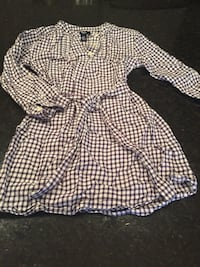 white and black plaid long-sleeve belted top Whitby, L1P