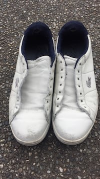 pair of white leather high-top sneakers Port Coquitlam, V3B 3R7