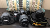 Nikon D3100 with 3 lenses