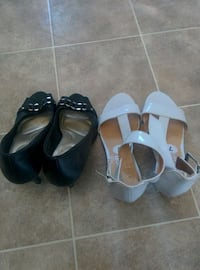 2 pairs of white and black leather stilettos