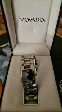 square silver-colored Movado analog watch with link band and box West Covina, 91791