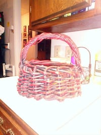 wicker red and brown basket
