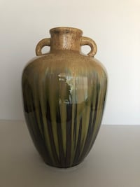 "Glazed ceramic vase with handles 13 1/2"" high by 9 1/2"" wide pick up only from Northridge Los Angeles, 91311"