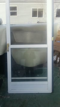 glass window with white wooden frame