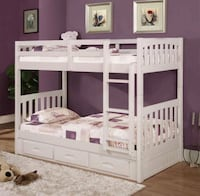 white wooden bunk bed with storage Lakeland, 33811
