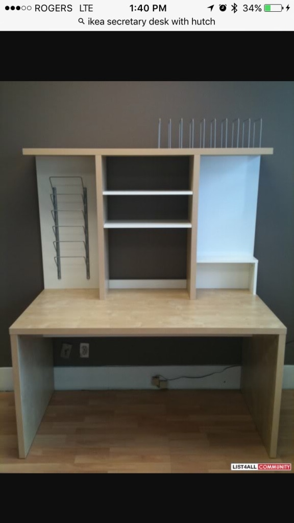 used ikea mikael desk with hutch glass top drawer cpu unit for rh ca letgo com