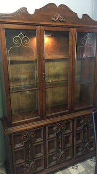 Antique China Cabinet with Light Display