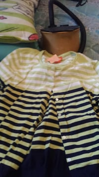 girl's white and yellow striped blouse Surrey, V4N 3N4