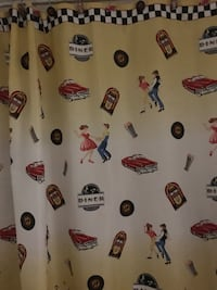 Dirty Dancing shower curtain with matching tissue holder and cup. Red trash can and red round d rug Dover, 19904