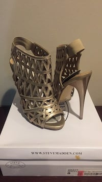 pair of brown leather open-toe gladiator heels 47 km