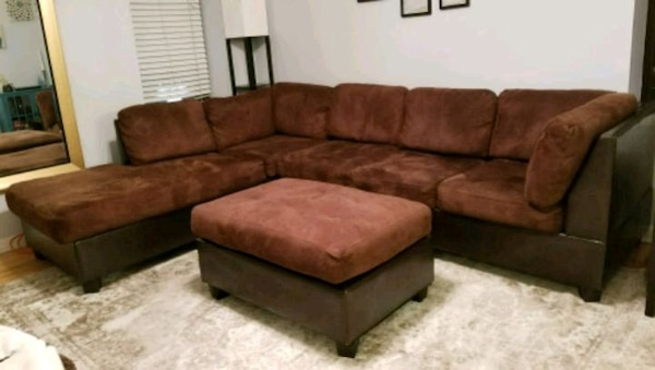 Brown Microsuede Sectional Sofa With Ottoman