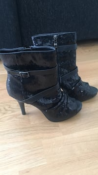 sequined svart ankel booties