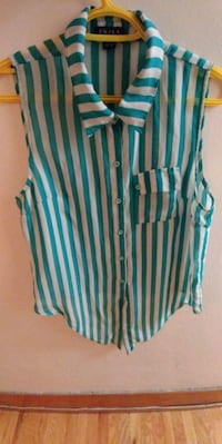 women's white and teal pinstripe button-up sleeveless top Winnipeg