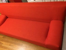Red IKEA fabric sofa / couch