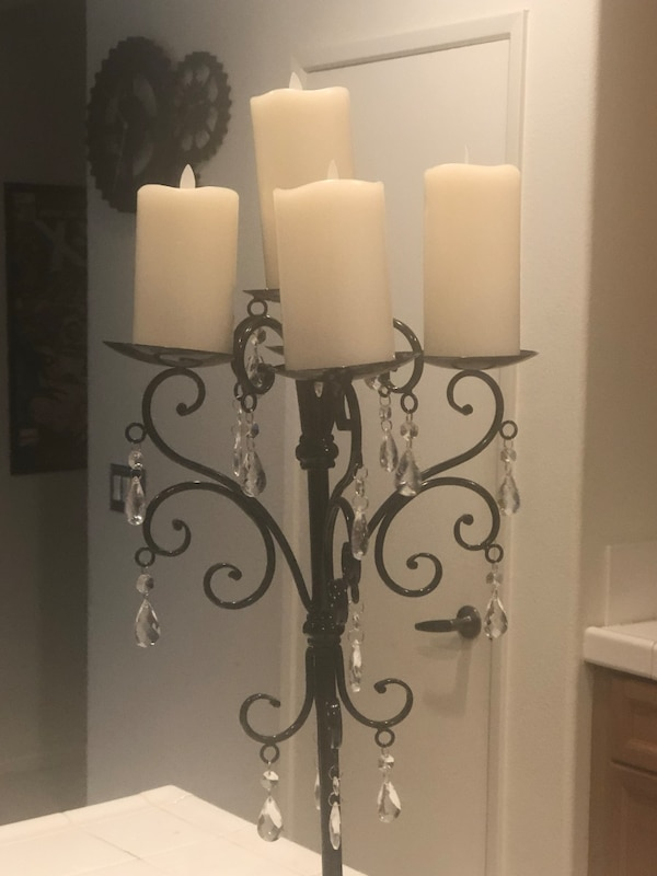 GLAM/GOTH BLACK METAL CANDLE HOLDER