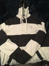 black and white Tommy Hillfiger striped pullover hoodie Toronto, M9V 4S4