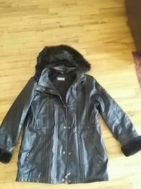 black leather button-up parka Montréal, H1G 1R9