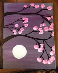 pink flower tree and moon painting