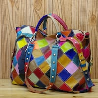 THE WOMANTIME CAERLI CALI LEATHER HANDBAG IN MULTI COLOR