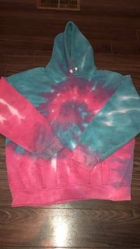 teal and pink tie-dyed pullover hoodie Central Okanagan, V1Z 2E6