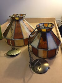 Vintage glass ceiling chain lamps