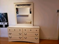 white wooden dresser with mirror Montréal, H1Z 2G1