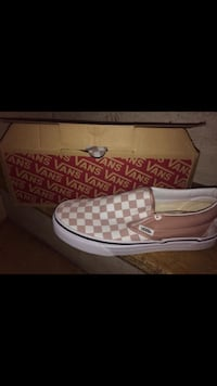 Pink and white checkered vans