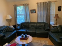 Soft Green leather couch and 2 arm chairs