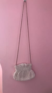 White glittery crossbody bag