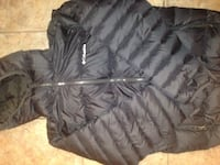 Black zip-up bubble jacket and water poof 3150 km