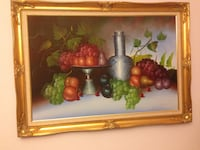 Fruit arrangement on white surface painting with gold frame