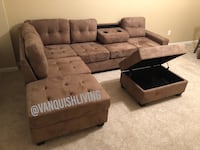 New taupe Reversible Sectional Sofa With Cup Holders Storage Ottoman Brookside Village, 77581