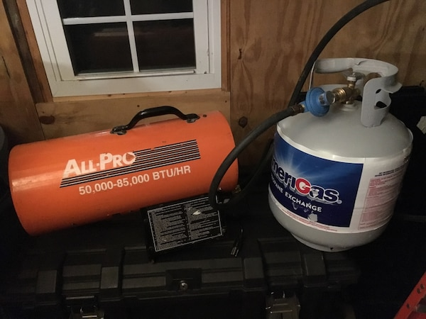 All pro heater 85,000 Dash 50,000 BTU W/propane tank also