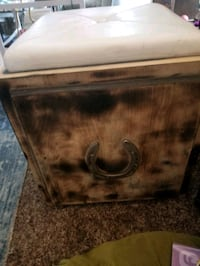 Beautiful one of a kind horse shoe foot stool