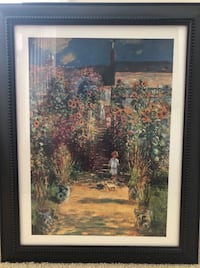 Framed print of The Artists Garden at Vetheuil 1880 by Claude Monet. Frame is dark wood, heavy with beaded detailing around edges. Print is glass covered; hanging hardware comes attached to frame. Perfect for a traditional office or living space! Frame is Glen Allen, 23059